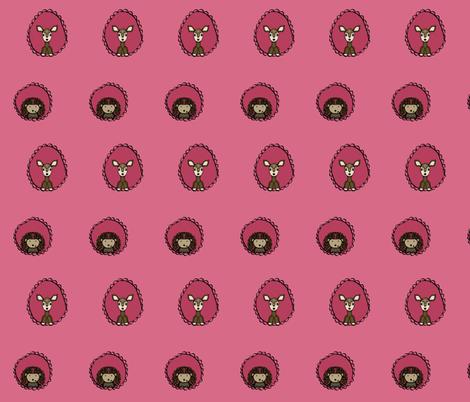 Doe and Hedgehog Portraits in Pink fabric by hejamieson on Spoonflower - custom fabric