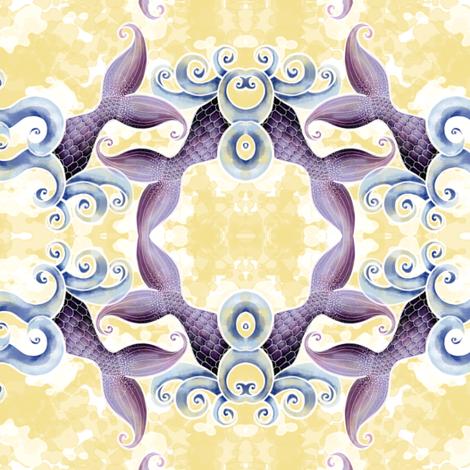 Mermaids and Waves fabric by amborela on Spoonflower - custom fabric