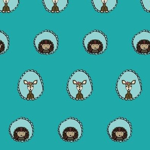 Doe and Hedgehog portraits in teal