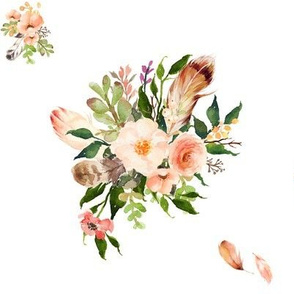"8"" Peach Headdress Florals"