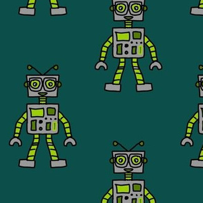 Green an Grey Robots with Glasses