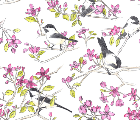 Chickadees in Blossoms fabric by juliesfabrics on Spoonflower - custom fabric