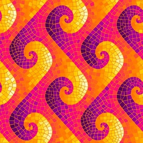 sideways wave mosaic - purple, hot pink, orange, yellow, white
