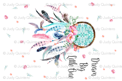 "54""X36"" PINK & AQUA DREAM CATCHER / MINKY SIZE 1 YARD"