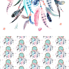 "72""x42"" Aqua & Pink Dream Catcher  with 20"" TRIM"
