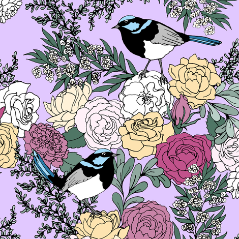 Superb Fairy Wrens and Roses fabric by pond_ripple on Spoonflower - custom fabric