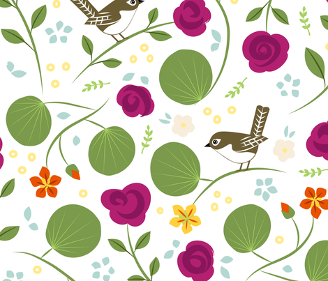 Wrens and Roses fabric by jenimp on Spoonflower - custom fabric