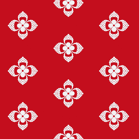 One September Night  -red/wht -flower  fabric by franbail on Spoonflower - custom fabric