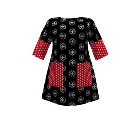 One September Night -red/wht -Polka Dot Flower