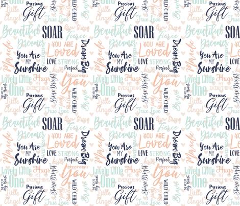Peach Mint & Navy Blue Baby Love Words & Hearts Nursery Fabric fabric by fabricbrat on Spoonflower - custom fabric