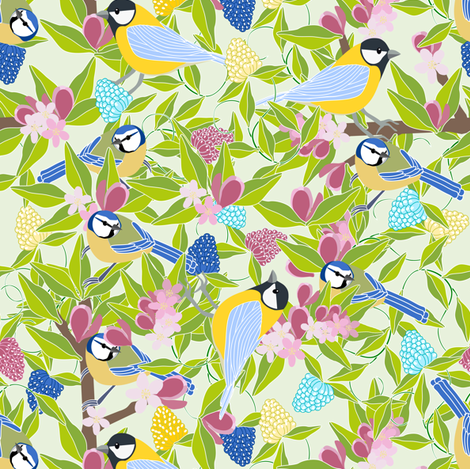 Where_Blue_tits_bloom fabric by anino on Spoonflower - custom fabric