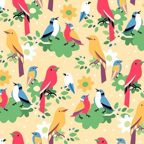 Birds in Blossoming Branches