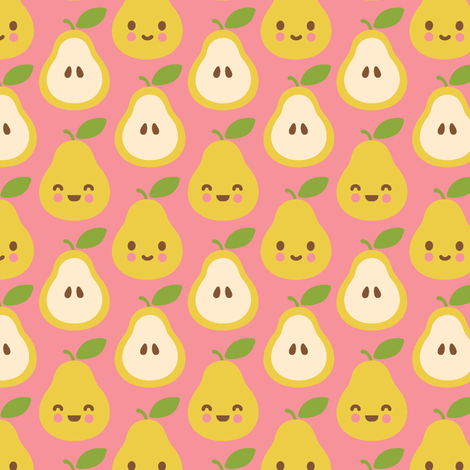 Happy Pears fabric by wanart on Spoonflower - custom fabric