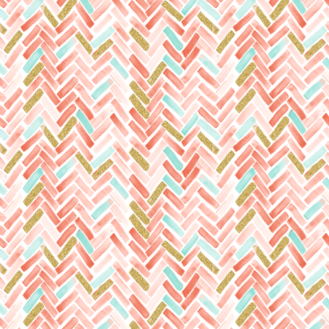 coral mint gold herringbone small scale fabric by mrshervi on Spoonflower - custom fabric