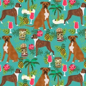 boxer tiki fabric  summer tropical fabric boxer dogs fabric - turquoise