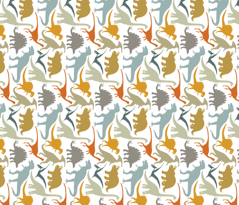 Little Dinosaur Friends - Rotated fabric by jillbyers on Spoonflower - custom fabric