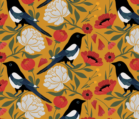 Spring Magpie fabric by nicofennec on Spoonflower - custom fabric