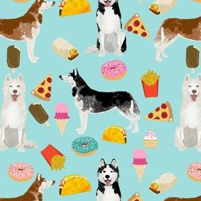 husky fabric siberian huskies junk food dog design fabric - blue