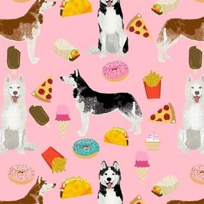 husky fabric siberian huskies junk food dog design fabric - pink
