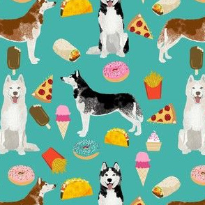 husky fabric siberian huskies junk food dog design fabric - turquoise