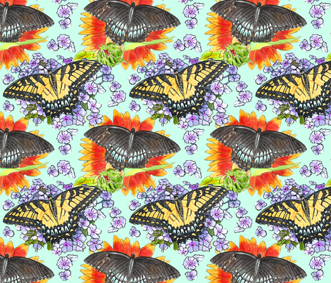 watercolor_swallowtails_4_8x8 fabric by leroyj on Spoonflower - custom fabric