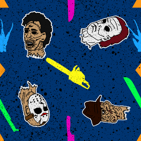 Horror Dudes Got The Blues  fabric by painted_doll on Spoonflower - custom fabric