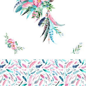 "2 Yard Panel with Trim / Aqua & Pink Headdress with 13"" TRIM"