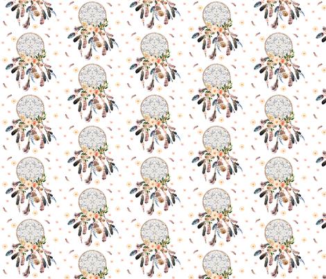 8 Dream Catcher Pink Floral Fabric Shopcabin Spoonflower