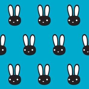 Monochrome Bunny on Blue