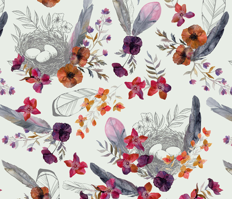 Feathered Nest Dove Gray fabric by katebillingsley on Spoonflower - custom fabric