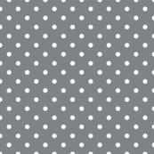 Smoke Grey and White Polka Dots