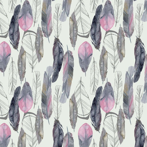 Boho Feathers Dove Gray