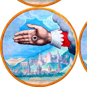 hands palms providence all seeing eyes  clouds mountains hills  houses buildings farms crops Illuminati Freemasons  Templar knights spiritual occult Masonic rituals symbolism symbols mysterious tarot cards inspired