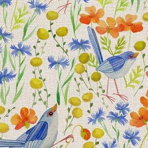 floral fields on linen