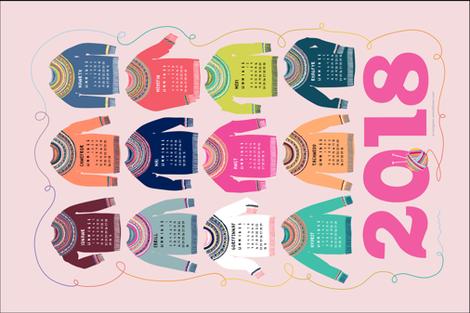 WELSH Woolly Jumpers Calendar 2018 fabric by cerigwen on Spoonflower - custom fabric