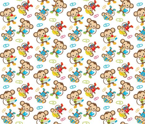 Monkeys and Books 11 fabric by prettygrafik on Spoonflower - custom fabric