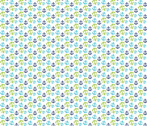 Navy and Green Nautical 06 fabric by prettygrafik on Spoonflower - custom fabric