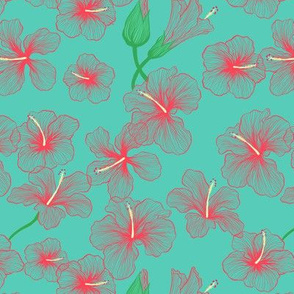 Hibiscus Floral on Turquoise
