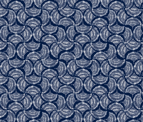 Fandance Indigo fabric by katebillingsley on Spoonflower - custom fabric