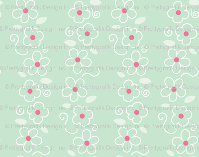 Pink and Mint Green Florals 07