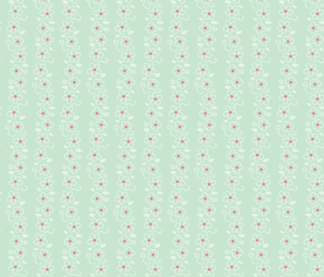 Pink and Mint Green Florals 07 fabric by prettygrafik on Spoonflower - custom fabric