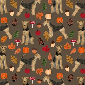 Airedale Terrier autumn dog breed fabric brown