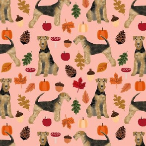 Airedale Terrier autumn dog breed fabric peach