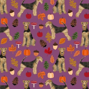 Airedale Terrier autumn dog breed fabric purple