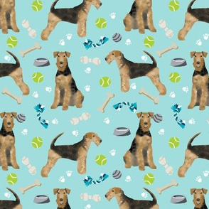 Airedale Terrier toys dog breed fabric light blue