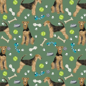 Airedale Terrier toys dog breed fabric med green