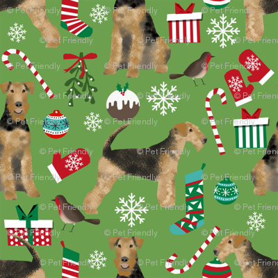 Airedale Terrier christmas dog breed fabric 1