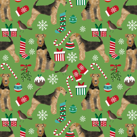 Airedale Terrier christmas dog breed fabric 1 fabric by petfriendly on Spoonflower - custom fabric