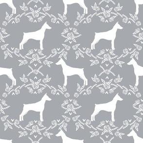 Doberman Pinscher silhouette floral grey