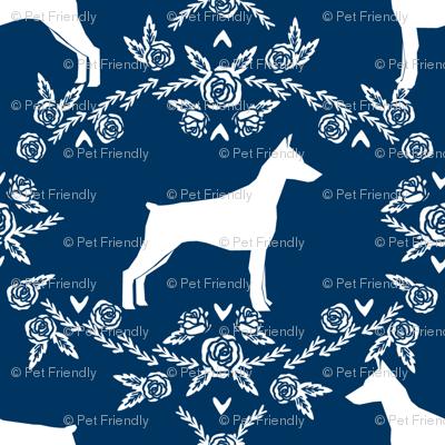 Doberman Pinscher silhouette floral navy